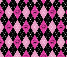 Monster High - Pink rhombus (argyle) fabric by analinea on Spoonflower - custom fabric