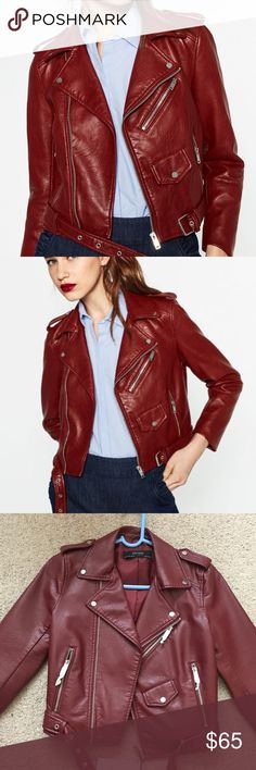 Zara Burgundy Faux Leather Moto Jacket Blogger fave!!  Gorgeous faux leather jacket!  Make it yours!!❤️❤️Sorry❌trades!!  Color is burgundy.  Make me an OFFER!! Zara Jackets & Coats