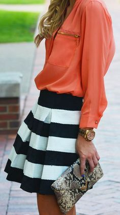 Stripe a Pose <3 black & white with pop of coral