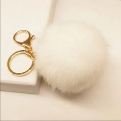 Pom Pom keychain Rabbit tail super soft and fluffy keychain and purse accessories Accessories Key & Card Holders