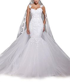 H.S.D Sweetheart Mermaid Wedding Dress Sexy Backless Bridal Gown White 12 >>> Continue to the product at the image link.