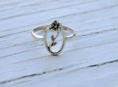 Oval flower and vine sterling silver ring by CapturedIllusions