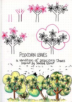Life Imitates Doodles: Popcorn Trees and Popcorn Leaves Tangle Patterns #Zentangle #TanglePatterns #TangleStepOuts