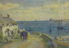 G Beally: a watercolour of Pwllheli, North Wales, seascape with cottages and horse drawn cart to the fore, circa 1900