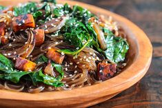 Korean Japchae Glass Noodles Recipe - Super Foods Version! Recipe Main Dishes with glass noodles, sweet potatoes, kale, onions, green onions, garlic, soy sauce, brown sugar, sesame oil, roasted sesame seeds, cooking oil
