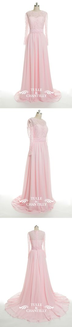 pink lace and chiffon bridesmaid dress for spring summer wedding 2016-2017