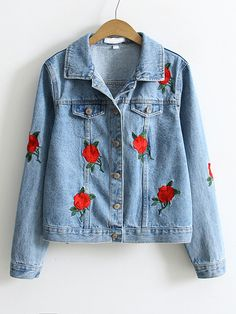 Blue Flower Embroidery Single Breasted Denim Jacket Mobile Site