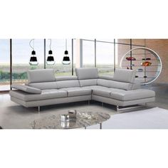 J Aurora Contemporary Premium Leather Sectional Sofa In Light Grey Leathersectionalsofas Seat Cushions Modular
