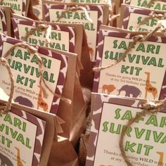 Safari Party Survival Kits - could be a good idea for Dinner Guests with Ticket & products from sponsors