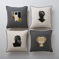 Letterman Pillows, Grecians by Yellow Owl Workshop for Schoolhouse Electric