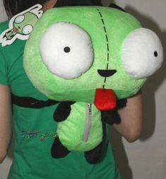 Green Alien Invader Zim Gir Stuffed Plush Backpack Bag 14 inch New