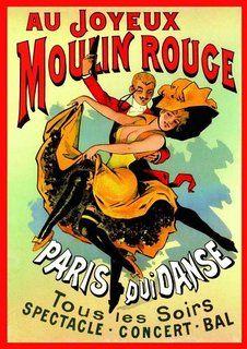 French Art Nouveau Theatre Cabaret MOULIN ROUGE JOYEUX dancing couple 23.5 x 16.5in (59.4 x 42cm) A2 Size MINI PAPER Poster
