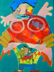"Balloon Woman by Frank Buchgraitz - 16"" x 12"", Acrylic on Canvas - $1,250.00 - www.nordicartwork.com"