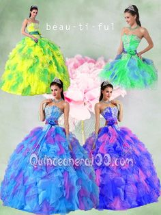 All Colors Puffy Strapless Appliques Quinceanera Dress with Sashes and Ruffles