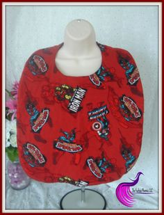 Captain America, Iron Man and Spiderman printed on red flannel backed with black diamond quiliting make this bib perfect for your own hero! by TheFuchsiaPhoenix on Etsy