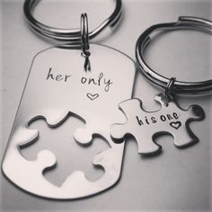 His One / her Only puzzle piece set - date or name can be added - available as keychain, bracelet or necklace set (or mix thereof)