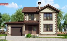 C-148 Проект стометрового двухэтажного дома в классическом стиле с гаражом - Проекты домов и коттеджей в Москве