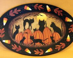 Folk Art Halloween Plate MADE TO ORDER Primitive Hand Painted Oval Plate Black Cats, Pumpkins, Full Moon, Bats, Spiders  Candy Corn Border