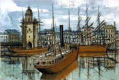 Bernard BUFFET ( 1928 - 1999 ) - Peintre Francais - French Painter La Rochelle, bateaux à quai devant la tour de l'horloge