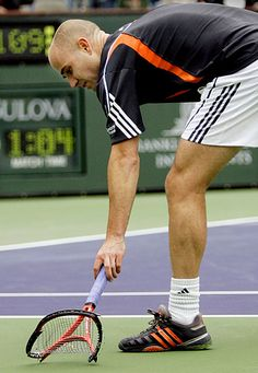 Andre Agassi - 2006 Pacific Life Open - Tennis Players Smashing Rackets