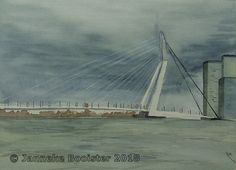 https://flic.kr/p/J475rs | Erasmusbrug, Rotterdam | Watercolour on Saunders Waterford NOT 300 g/m2. Colours used are Payne's Grey, Winsor Yellow, Vandyke Brown, Titanium White; all W&N Professional.  Reference by my husband Peter  Framed 40 x 50 cm; made on request.  Meer informatie vindt u op mijn website / More information can be found at my website www.jannekesatelier.webs.com