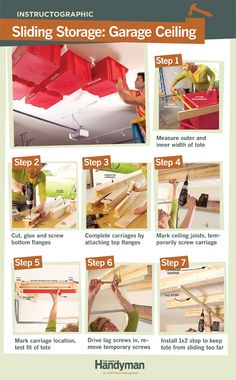 DIY Tutorial: How to Build a Sliding Storage System on Your Garage Ceiling.
