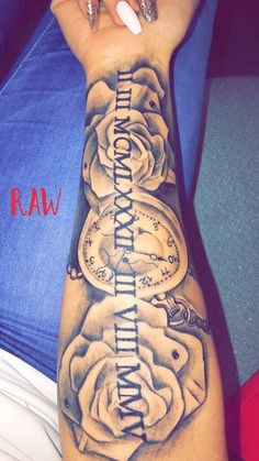long nails, blue jeans, roses and a pocket watch, roman numeral tattoos on arm If you are looking to commemorate an important date in your life, roman numeral tattoo is your best option. Browse through 85 examples and choose your own. Dope Tattoos, Hand Tattoos, Forarm Tattoos, Dream Tattoos, Pretty Tattoos, Unique Tattoos, Body Art Tattoos, Small Tattoos, Tatoos