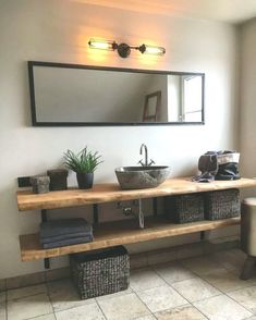 Ob Treibholz rustikales Altholz oder lebhafte Waschtische aus From driftwood to rustic old wood or lively washbasins wood Rustic Bathroom Sinks, Bathroom Sink Design, Small Bathroom, Unit Bathroom, Bathroom Ideas, Cosy Bathroom, Bathroom Furniture, Bathroom Interior, Interior Paint