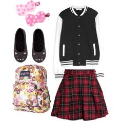 rock style fashion by pinkmitta on Polyvore featuring polyvore fashion style MANGO H&M JanSport Hello Kitty