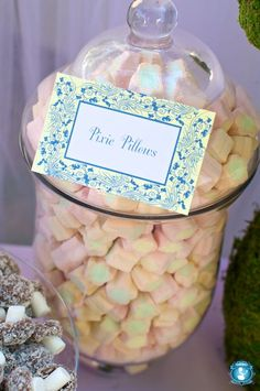 Pixie pillows - little marshmellows in a glass jar for a fairy party.