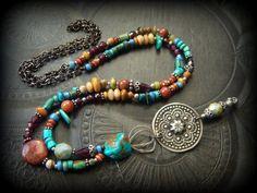 Gypsy, Bohemian, Banjara, Kuchi, Turquoise, Jasper, Coral, Garnet, African Beads, Gemstone, Tribal, Long Beaded Necklace