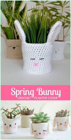 Crochet Spring Bunny Planter Pot Cozy Free Pattern - Crochet Plant Pot Cozy Free Patterns
