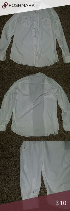 NWOT Mens white button up shirt White button up shirt.  Sleeves have extra button and strap if u want to roll and button the sleeves up to keep them up.  Took the tags off, but never worn. Drill Clothing Company Shirts Casual Button Down Shirts