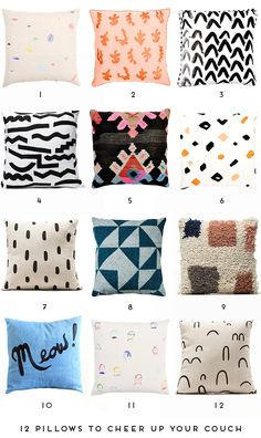 Pillow Talk and home decor: 12 Pillows to Cheer up your Couch - Paper and Stitch