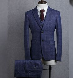 Suits men's three piece groom wedding dress suit Korean casual Slim blue grey plaid suit spring and autumn with waistcoat #menssuitscasual #menssuitswedding #menssuitsgrey