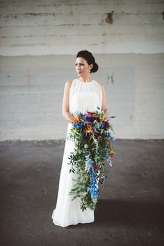 Another dream bouquet.Cascading Wildflower Bouquet with Delphiniums and Thistle Cascading Wedding Bouquets, Cascade Bouquet, Diy Wedding Flowers, Bridal Flowers, Floral Bouquets, Floral Wedding, Wedding Ideas, Delphinium Bouquet, Delphiniums