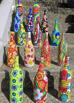 pyssel måla flaskor inspiration konst tips ide hantverk