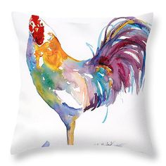 """Rainbow Rooster 14"""" x 14"""" Throw Pillow by Renee Chastant.  Our throw pillows are made from 100% cotton fabric and add a stylish statement to any room.  Pillows are available in sizes from 14"""" x 14"""" up to 26"""" x 26"""".  Each pillow is printed on both sides (same image) and includes a concealed zipper and removable insert (if selected) for easy cleaning."""