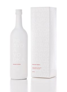 This package for Pravda Vodka looks and feels ultra clean and the all-white bottle would be sure to stand out on a shelf in a bar. [Samantha Ziino via LovelyPackage] Cool Packaging, Beverage Packaging, Bottle Packaging, Cosmetic Packaging, Brand Packaging, Bottle Labels, Web Design Mobile, Alcohol Bottles, Vodka Bottle
