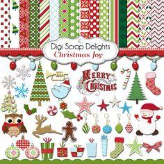 Christmas Clip Art  Digital Scrapbook Kit Papers Snowman, Reindeer, Cards, TpT, Instant Download  #scrapbooking #christmas #cheer #digital #digiscrapdelights