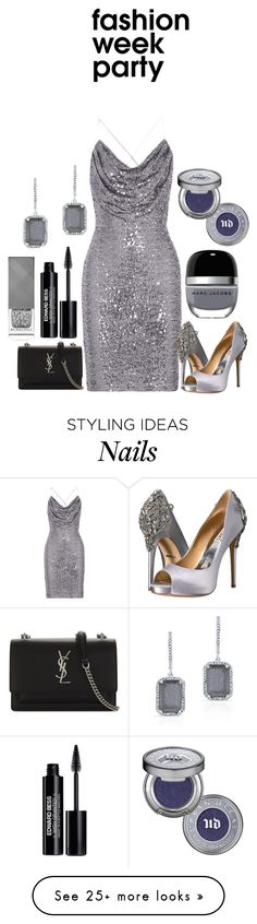 """""""Party all Night!"""" by mrudula-26 on Polyvore featuring Badgley Mischka, Yves Saint Laurent, Anne Sisteron, Marc Jacobs, Edward Bess, Burberry and Urban Decay"""