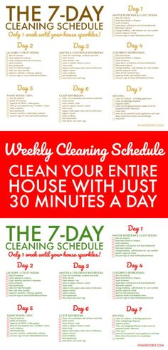 Clean your home in just 30 minutes a day for 7 days. Here's a FREE printable weekly house cleaning schedule so you can do it! Clean your home in just 30 minutes a day for 7 days. Here's a FREE printable weekly house cleaning schedule so you can do it!