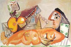Nu couché et homme jouant de la guitare (1970)