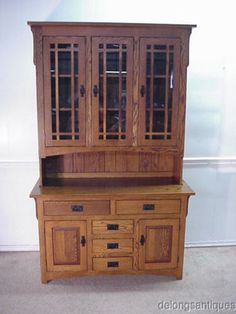 29983 Mission Oak Arts Crafts China Cabinet | EBay
