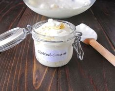 Clotted cream is a very British, thick cream made from the best Devon cows that is traditionally served on English scones for afternoon tea. Clotted Cream Recipes, Tea Recipes, Cooking Recipes, English Scones, English Food, Afternoon Tea Parties, Cream Tea, Tea Sandwiches, Christmas Tea