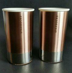 STARBUCKS LOT OF 2 METAL ROSE GOLD CORK BOTTOM TRAVEL COFFEE, TEA CUPS 8OZ 2012 #Starbucks