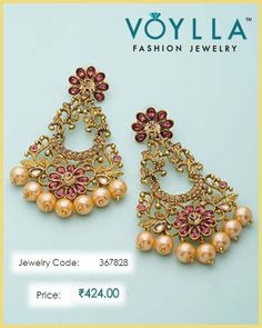a2cfe808a Shiny Pink & Beige Stones Studded Dangler Earrings For Women
