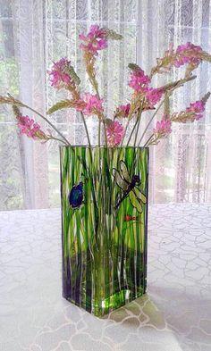 Flowers vase Glass green vase Hand painted square by NBHandicraft Flowers Vase, Painted Flowers, Transparent Glass Paint, Painted Glass Vases, Pottery Art, Hand Painted, Modern, Green, Stained Glass