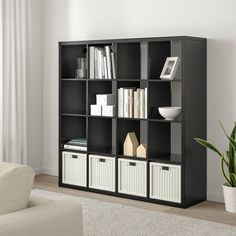 KALLAX Shelf unit - black-brown - IKEA Etagere Kallax Ikea, Ikea Kallax Shelf Unit, Ikea Expedit Bookcase, Ikea Kallax Regal, Ikea Shelves, Bookcases, Bookcase Shelves, Bookshelf Room Divider, Room Dividers