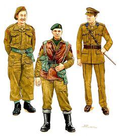 """Volontari Stranieri Alleati - da sinistra  : Capitano, Brigate Reale Olandese """"Principessa Irene"""", (uniforme britannica) Normandia agosto 1944 - Sergente, 2° Battaglione (olandese) 10° Reggimento (interalleato). Arnhem, ste. 1944 (Uniforme da campagna britannica) - Tenente colonnello. Brigata Reale Olandese """"Principessa Irene"""" (uniforme britannica con patch olandesi), Inghilterra 1944-"""